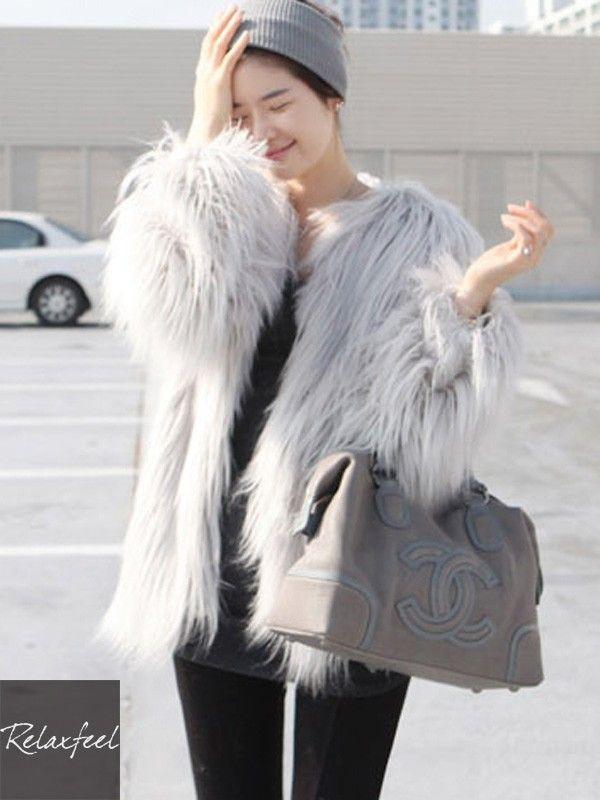 Relaxfeel Women's Long Sleeve Faux Furred Coat - New In