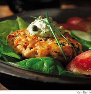 Salmon Burgers With Green Goddess Sauce - The key here is to handle the fish delicately: don't over-season, over-handle, or overcook it.