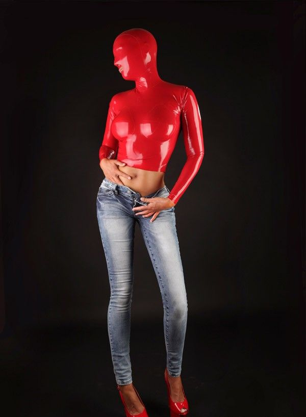 2016 New !Enclosed Latex Sexy Costumes Women's Latex Top With Hood Red Latex Tight Wear 0.8MM thickness Latex Suit #Affiliate