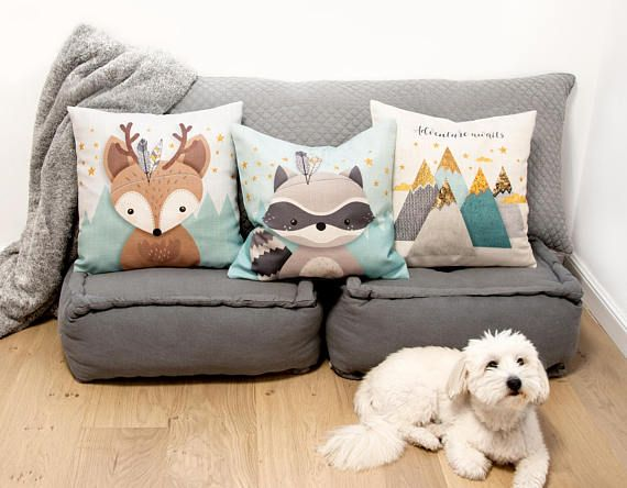 Christmas gift, Woodland nursery, Pillow set of 3, Cushion covers, Throw pillow set of 3, Forest Animal pillow, Christmas deer, Cute animal. ❥ You and your little one are bound to fall in love with this adorable, genuine handmade designed woodland throw pillow set of 3, featuring 2 cute forest friends -  a cute deer, and an adorable Raccoon, with a beautiful Mountains view, on a delicately textured mint and gray background, enriched with Faux Gold stars. Each pillow can be set with the back…