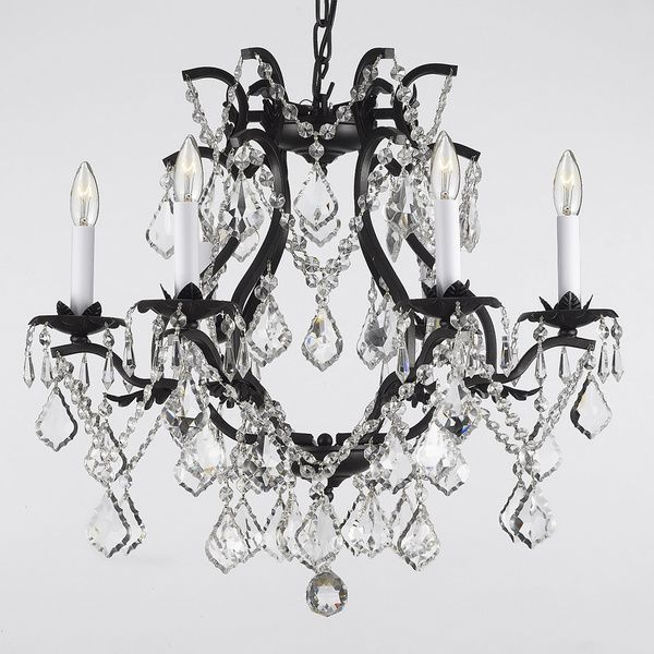 409 best lighting images on pinterest chandeliers homes and alt gallery versailles wrought iron and crystal 6 light chandelier black mozeypictures Images