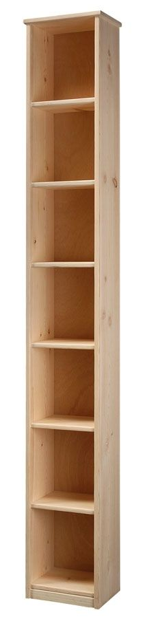 "Solid Pine Wood 9"" Deep Bookcase with Fixed Shelves Unfinished 12w x 84h"