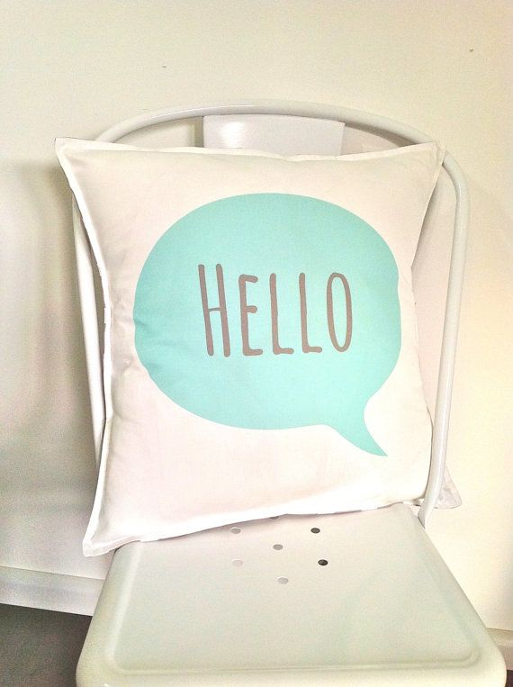 Hello Cushion in mint  cover only by AlphabetMonkey on Etsy, $60.00
