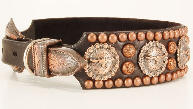 Trail Boss Custom Western Leather Dog Collar in Antique Copper Finish and Black Bridle Leather