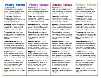 poetry activities for middle school pdf