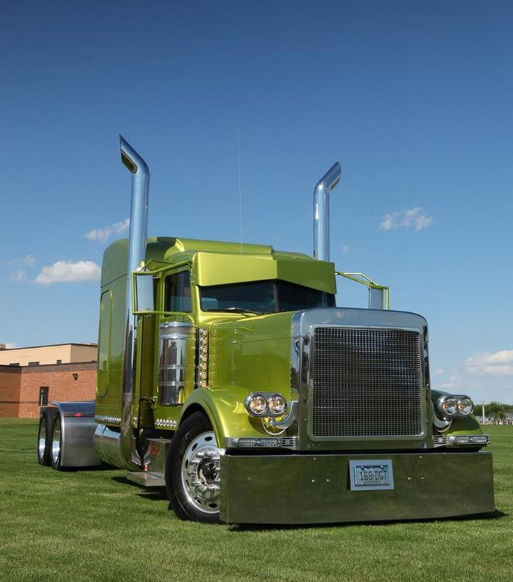 Green Peterbilt... Check out those cab stacks!  'Get er Loaded' #ReferATruck - LGMSports.com