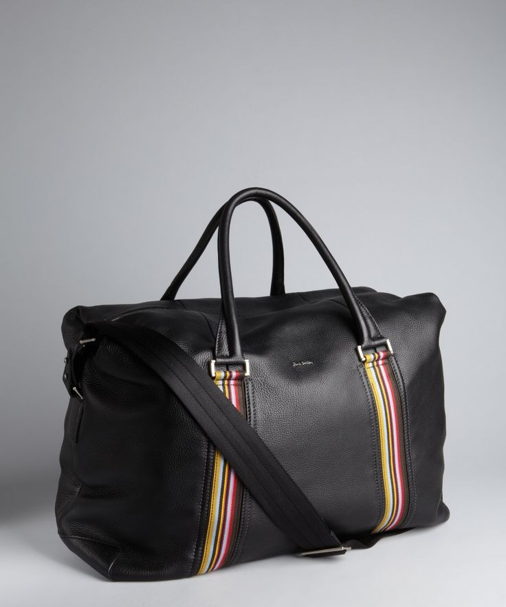 Paul Smith black pebbled leather large travel duffel bag | BLUEFLY up to  70% off