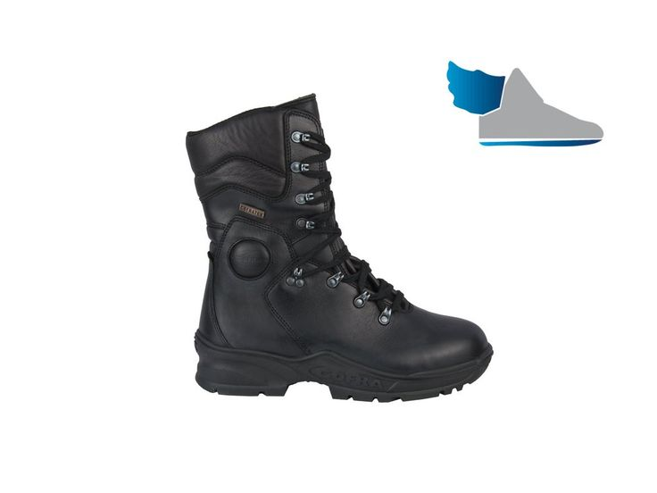 Zimná, čierna, vysoká obuv  FIRE STOP vyrobená z talianskej kože s tepelnou ochranou.-