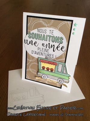 Stampin'Up! Carte Amitié Friendship Card Étampes Ballons à l'aventure Balloon Adventures Stamp Set Étampes Resto sur roulettes Tasty Truck Stamp Set www.creationencreetpapier.com