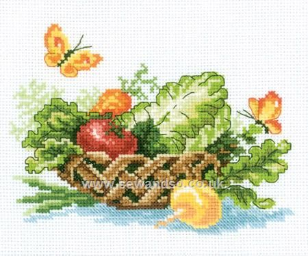Buy Vegetable Basket Cross Stitch Kit DISC Online at www.sewandso.co.uk