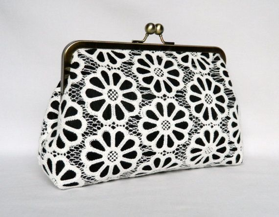 Lace Clutch Ivory and Black Lace Clutch Clutch by TheHeartLabel