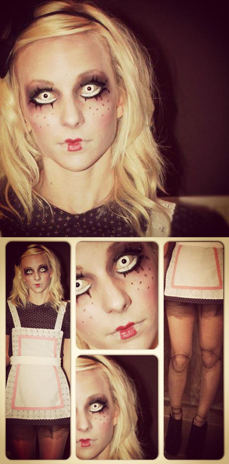 creepy doll halloween costume. Handmade outfit, doll leg tights and makeup.
