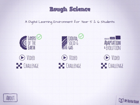 Rough Science iPad App:$2.99  Presented by well known science educator, Sean M Elliott, Rough Science is a digital learning environment that explores three exciting Australian Curriculum Year 5 & 6 science topics: Layers of the Earth; Solid, Liquid & Gas; and Adaptation & Evolution. Each unit is comprised of a short video and a creative challenge.