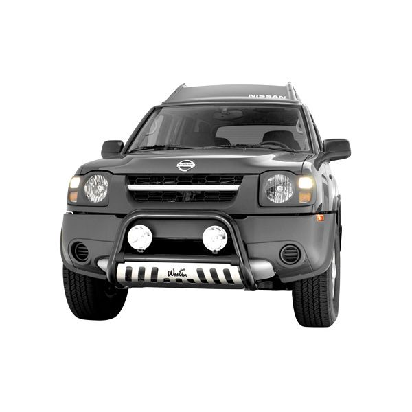"""Image may not reflect your exact vehicle! Westin® - 2.5"""" Ultimate Black Bull Bar with Polished Skid Plate Installed"""