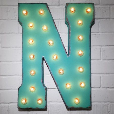 Custom 21' Turquoise Letter 'N' Vintage Marquee Si - click/tap to personalize and buy