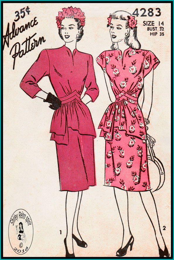 Advance 1940s Dresses Peplum Midriff Seam Interest Slit Neckline Funnel Neck Cap Sleeves Three-quarter Sleeves Extended Shoulders Gathers Draped Drop Waist Basque