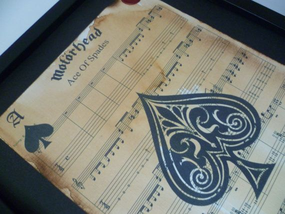 Motorhead, Ace of spades, sheet music artwork, music art, ace of spades print, song lyric art, sheet music, custom art, music gifts