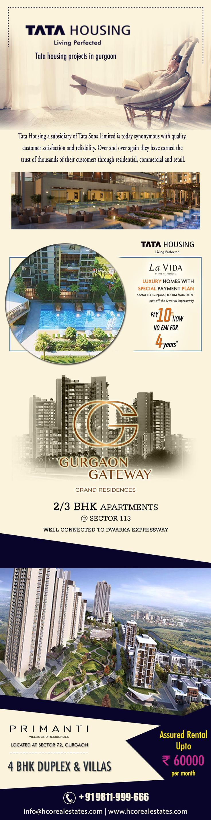 One of the leading names Tata Housing is offering projects named Tata La Vida Gurgaon, Tata Gurgaon Gateway and Tata Primanti where spaces apartments, villas, duplex and penthouse- https://www.hcorealestates.com/builder/tata-new-projects/