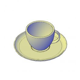 Cup and saucer 3D AutoCAD model