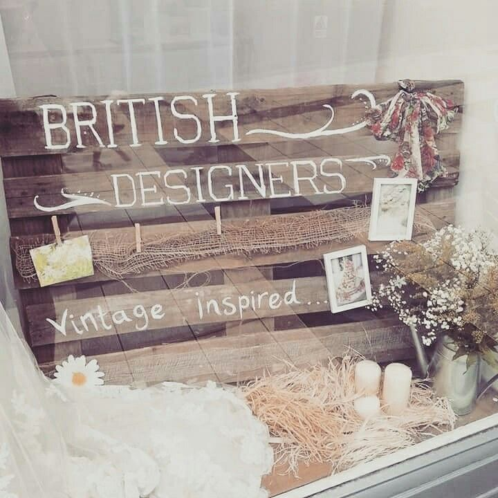 British designer shop window display at The Bridal Emporium, Leeds. Diy Wedding, Old pallet and country chic