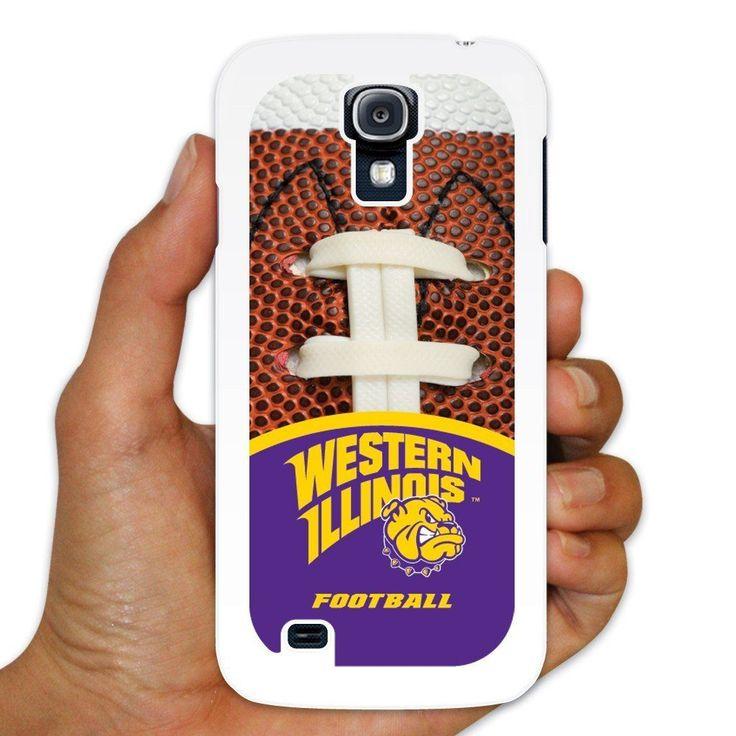 "Western Illinois Samsung Galaxy S4 Case "" Football Background "" White"