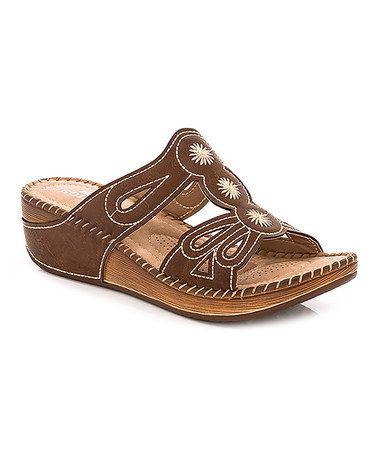 Love this Brown Contrast Stitch Sandal on #zulily! #zulilyfinds