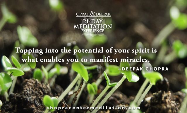 Mindful moment: Take a deep breath in, hold it for just a moment, and release with a sigh. Now trust you have the ability to manifest miracles. Join Oprah & Deepak for the next 21-Day Meditation Experience, Energy of Attraction, and watch as the miracles show up!
