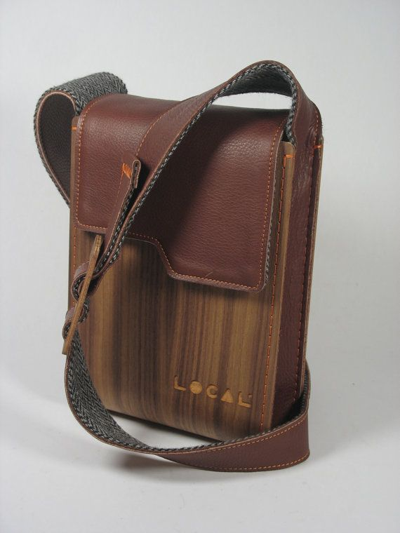 Wood and genuine leather Ipad bag, Handmade Shoulder Bag, Man Woman Pouch, Handmade IPad Bag  Folder bag is a product design project for a bag