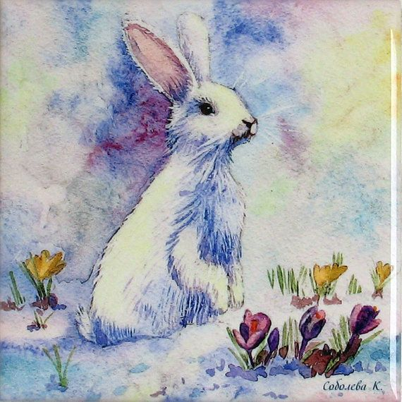 Painting  watercolourWhite BunnyCeramic by SobolevaArt on Etsy, $14.90
