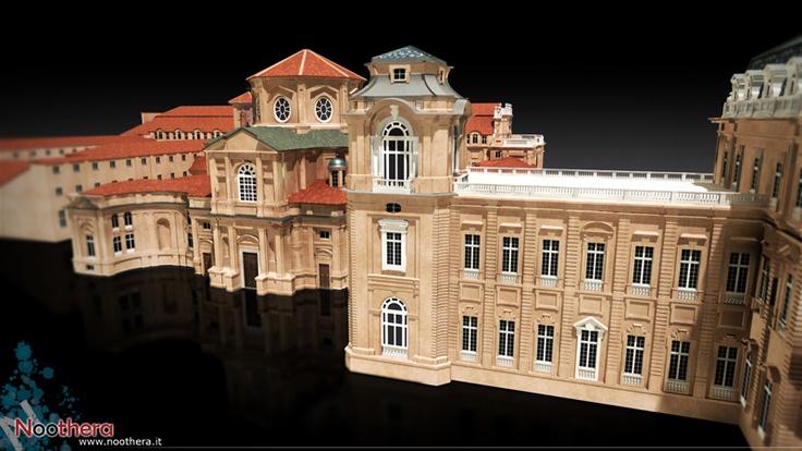 """""""Cappella si S. Uberto e Torre del Belvedere"""" - Frame from the video """"La Reggia di Venaria"""" - Noothera Portfolio - Architettura (CGI, 3D, Video, Animation)"""