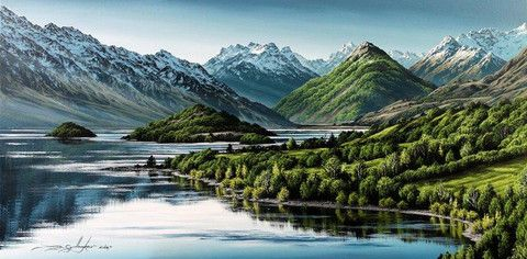 Lake Wakatipu from Bennetts Bluff by Dale Gallagher - Central Art Gallery Queenstown