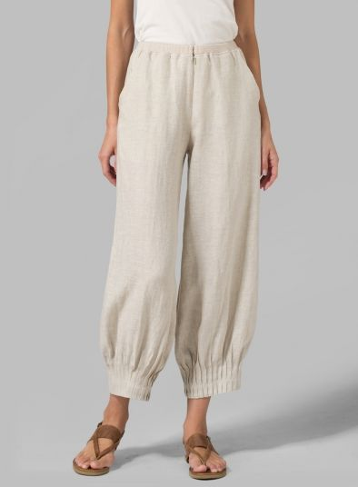 MISSY Clothing - Linen Regular Fit Crop Pants