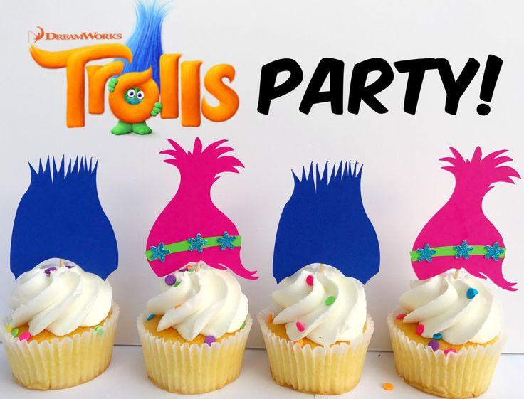 Trolls Party, Trolls, Trolls Decorations, Trolls Birthday Party, Trolls decor, Trolls cupcake toppers, trolls toppers, poppy and branch by Mamaspartyshoppe on Etsy https://www.etsy.com/listing/501492321/trolls-party-trolls-trolls-decorations