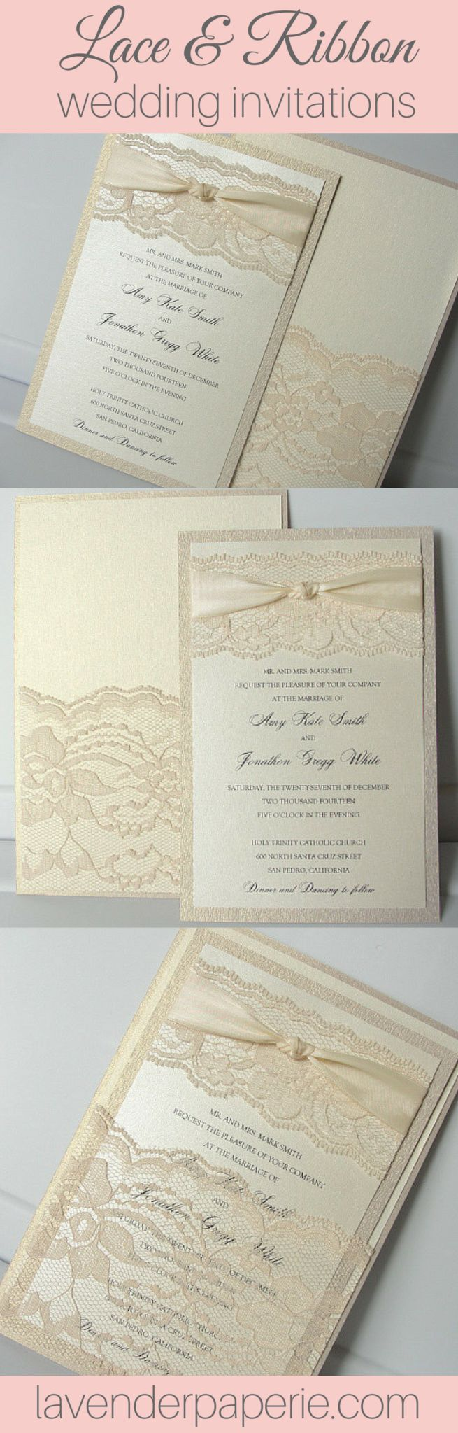 lace wedding invitation wrap%0A Lace and Pocketfold Wedding Invitations by Lavender Paperie   weddinginvitations  weddinginvites  elegantweddinginvites   classicweddinginvitations