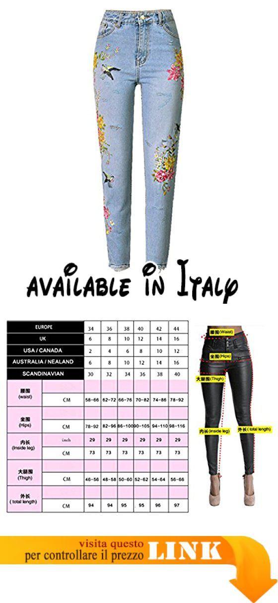 f0271709692cac B078KGRDST : Donna 3D Prima E Dopo Ricamo Uccelli Fiori Jeans Vita Alta  Pantaloni Vestibilità Slim