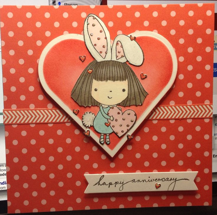 Love some bunny! Penny Black stamp, spellbinders heart, distress ink and mft sentiment strips die