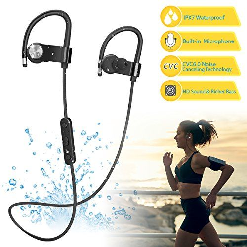 Bluetooth Headphones Wireless IPX7 Waterproof Earphones w/ Stereo and Bass, Built-in Microphone, Noise Cancelling, 8-10 Hours Play Time, Sweatproof Sport Headset Earbuds for Running, Gym  https://topcellulardeals.com/product/bluetooth-headphones-wireless-ipx7-waterproof-earphones-w-stereo-and-bass-built-in-microphone-noise-cancelling-8-10-hours-play-time-sweatproof-sport-headset-earbuds-for-running-gym/  ✌IPX7 WATERPROOF RATING: Certified to IPX7 ingress, this waterpro
