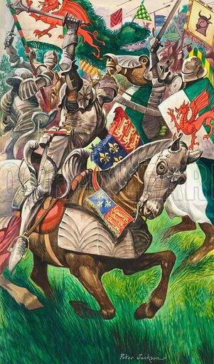 "Battle of Bosworth Field. Illustration by Peter Jackson. ""His courage also high and fierce, which failed him not in the very death"". - Polydor Vergil, Historian, 1520"