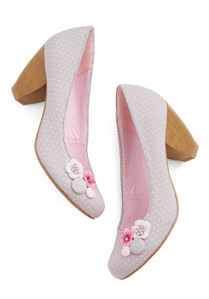 Prettiest Promenade Heel. Your morning commutes will be something to adore when you set out on foot in these grey heels - decorated with pink dots. #grey #modcloth