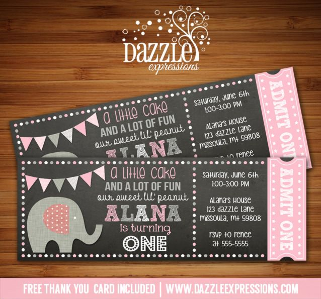 Printable Chalkboard Pink Elephant Ticket Birthday Invitation | Digital File | Girl 1st Birthday Party Idea | FREE thank you card | Party Package Available |  Banner | Cupcake Toppers | Favor Tag | Food and Drink Labels | Signs |  Candy Bar Wrapper | www.dazzleexpressions.com