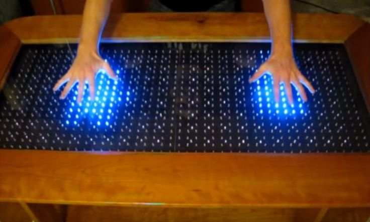 You can create a reactive LED coffee table using Arduino micro  https://www.youtube.com/watch?v=fxkEPKGgv8o&feature=youtu.be