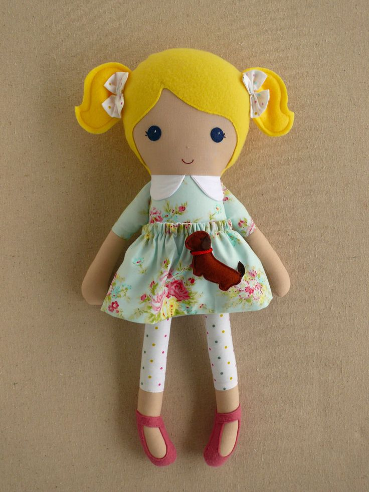 Would love one for her!  Fabric Doll Rag Doll Blond Haired Girl in Pale Green Floral Dress with Tiny Brown Dachshund Puppy by rovingovine on Etsy https://www.etsy.com/listing/225861765/reserved-for-lindsay-fabric-doll-rag. #onegoodthread #easter