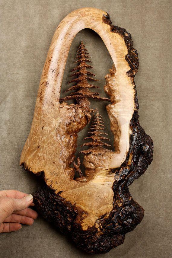Baum Holzschnitzerei Wandkunst aus einem Stück von Gar … – #aus #Baum #carvin…