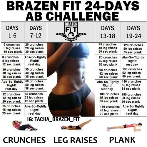 Brazen Fit 24-Day Ab Challenge to go along with my squats, calf raises, push-ups, and tricep dips. I am marking this down on my calendar and WILL start the first day of March.