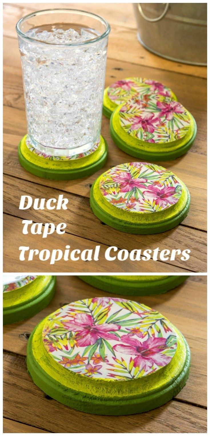 Learn how to make cute, tropical coasters with a roll of Duck Tape, acrylic paint, and some inexpensive wood plaques! Customize with your favorite pattern. via @modpodgerocks