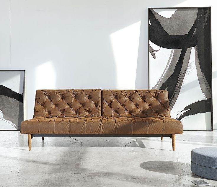 Innovation USA Oldschool Vintage Leather Chesterfield Sleeper Sofa Bed