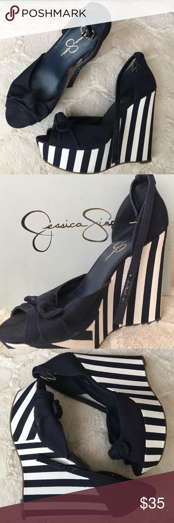 Jessica Simpson Striped Wedges Jessica Simpson blue and white wedges with jean design material! The top of the show has a  beautiful bow. Shoes will come with original box! Jessica Simpson Shoes Wedges
