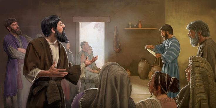 In the early Christian congregation, two men sneer as the scriptures are read