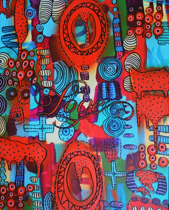Red Love original abstract modern red blue green by PainterPaige, $150.00