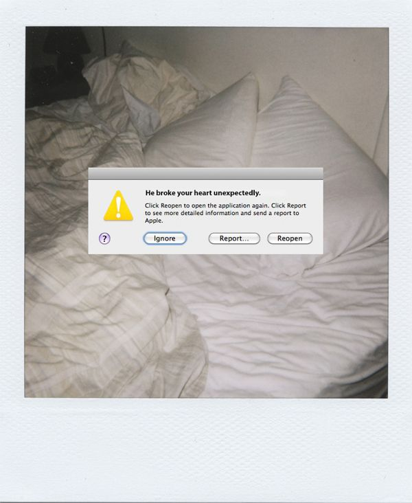 Graphic Designer Inserts Error Messages Into Human Experiences  by Victoria Seimer, Brooklyn